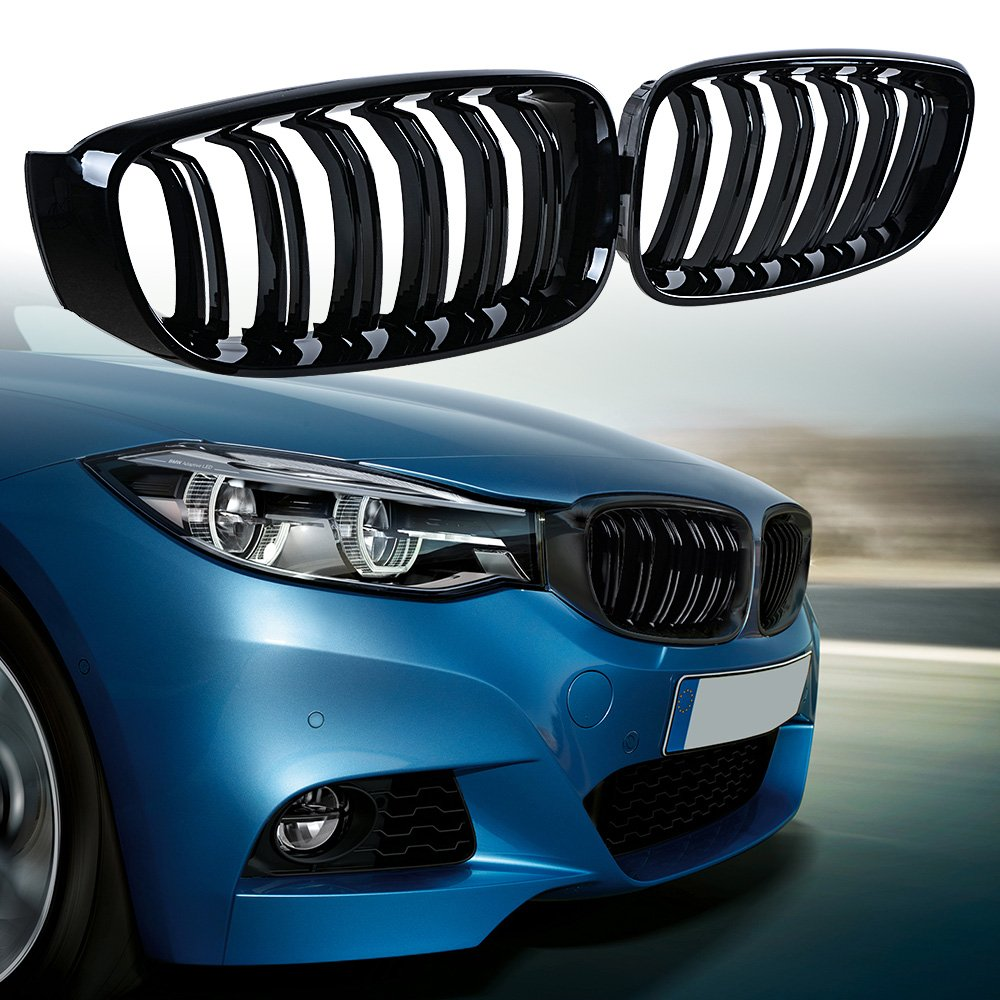 Glossy Black Anzio Front Kidney Grill Replacement for BMW 3-Series F34 Touring 2014-2017