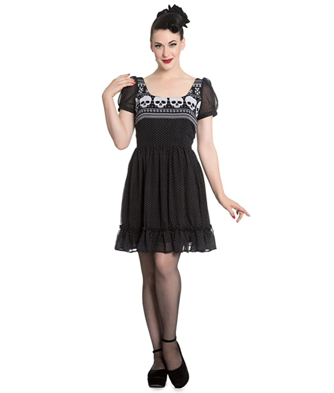 892d13f5ecf Hell Bunny Yule Skull Christmas Alternative Mini Dress - UK 8 (XS) Black   Amazon.co.uk  Clothing
