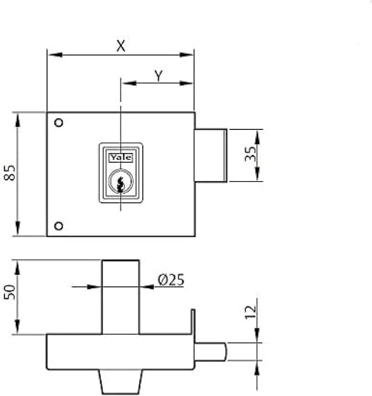 Yale Cerradura de Sobreponer Est/ándar 124140DHP 140 mm Hierro Pintado 124 // Derecha