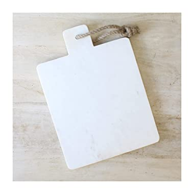 Rope Handle Classic White 14 x 10 Marble Serving Carving Cutting Board