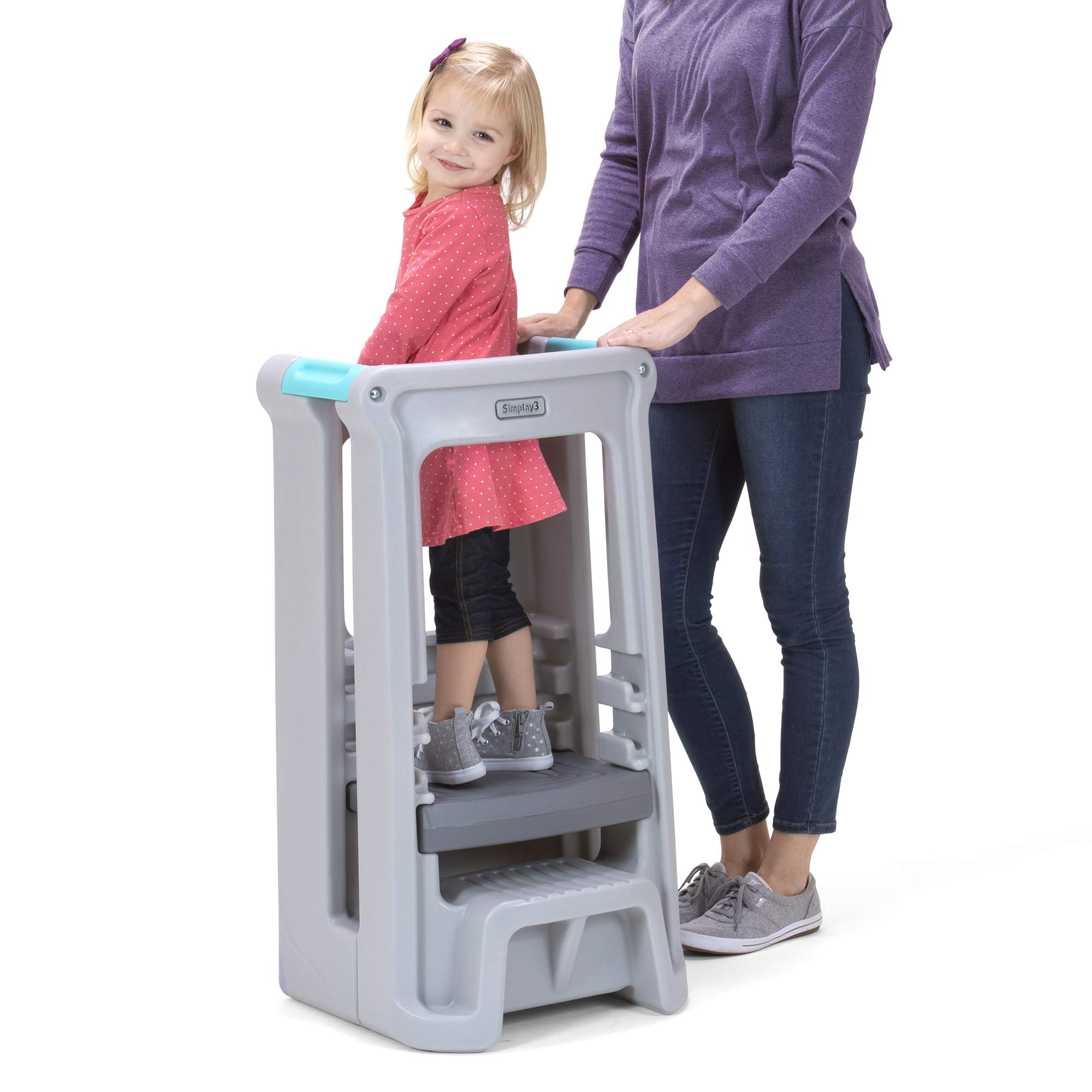Simplay3 Toddler Tower Childrens Step Stool with Three Adjustable Heights, Gray by Simplay3 (Image #1)