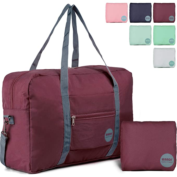 d0850d0002 Wandf Foldable Travel Duffel Bag Luggage Sports Gym Water Resistant Nylon  (Wine Red 2019)