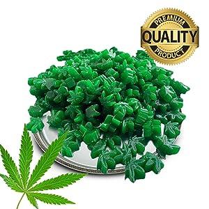 Hemp Leaf Gummies – No THC, No CBD, No Actual Marijuana | Natural Green Apple Flavor & Color – Non-GMO