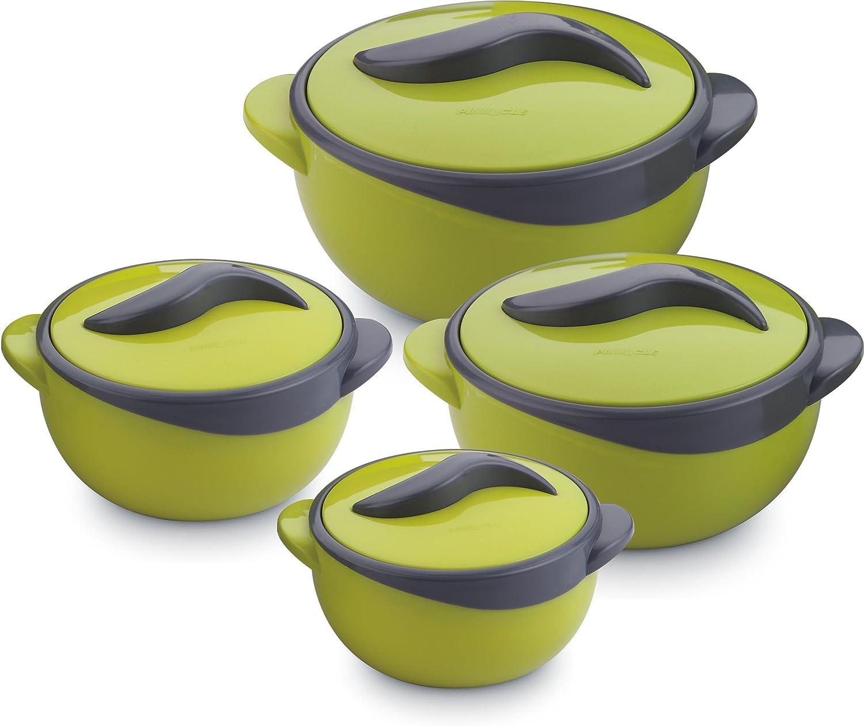 Pinnacle Parisa 4Pc Round Heat Insulated Food Storage Hot Pot Casserole Set, Green