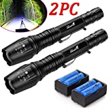 YGSell 2 Sets Tactical Flashlight LED Zoomable Waterproof Resistant Torch 5 Modes XM-L T6 9000 LM 18650 Battery & Charger