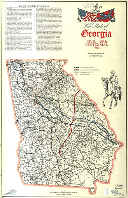 Map Of The State Of Georgia.Amazon Com Vintage 1964 Map Of The State Of Georgia Civil War