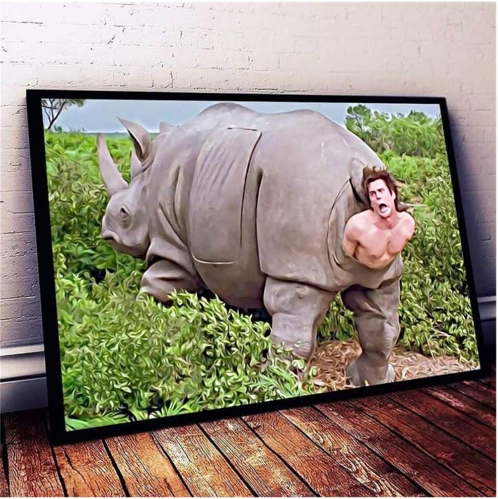 5STARS N&R Rhino in Ace Ventura Poster Canvas Artwork Wall Art The Prints Painting Art Prints Picture Home Decoration Living Room Decor -60x90cm No Frame