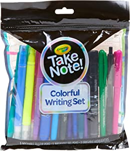 Crayola Take Note Colorful Writing Set, at Home Crafts for Kids, Bullet Journal Supplies, 19 Pieces