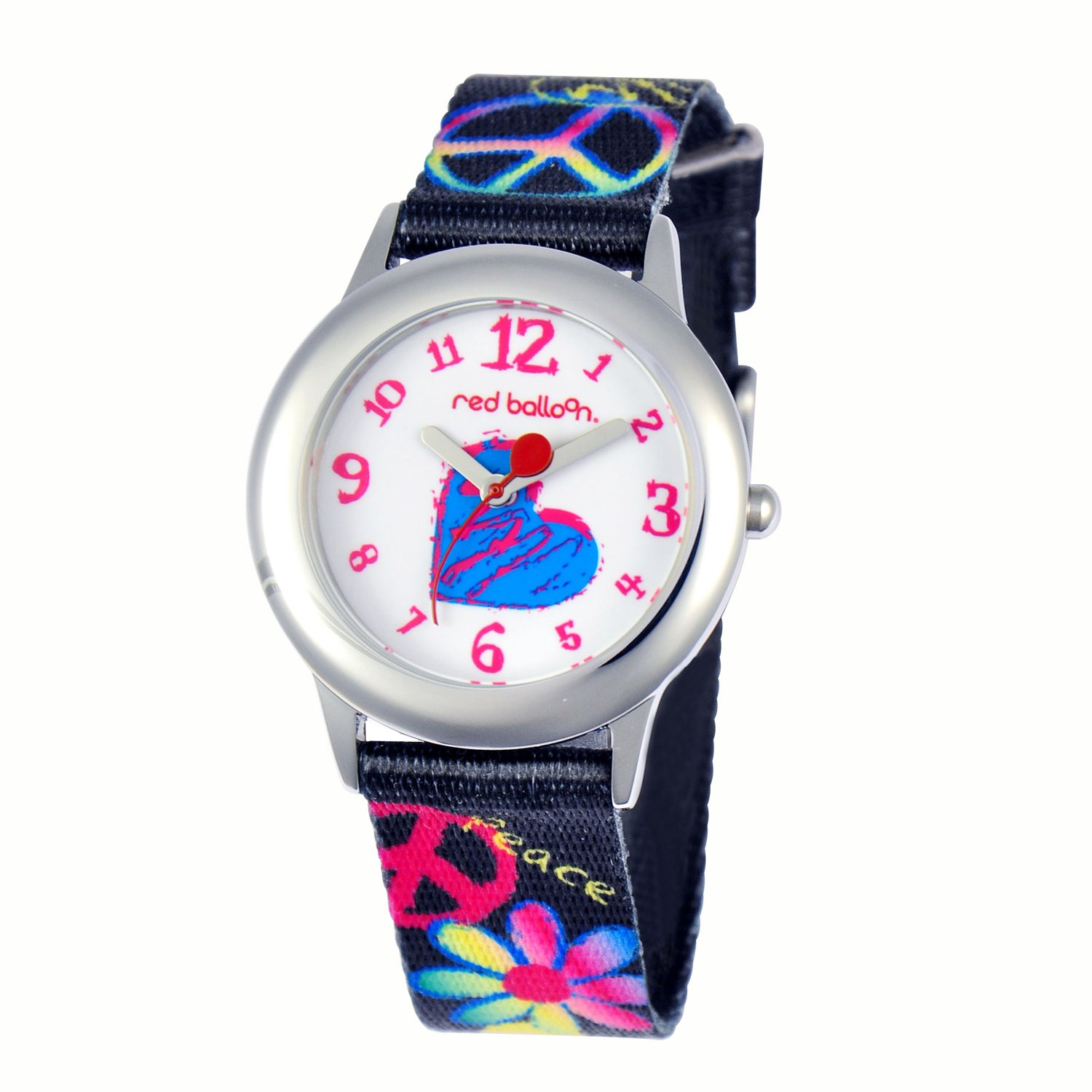 Red Balloon Kids' W000339 Peace Love and Happiness Tween Stainless Steel Printed Strap Watch