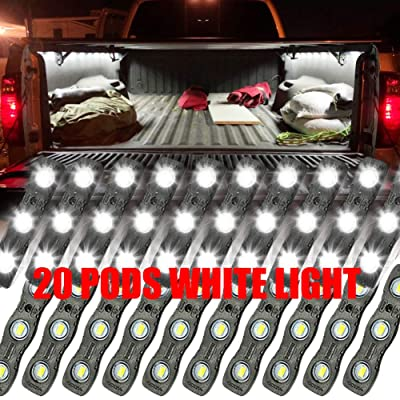 Ampper LED Truck Bed Light Kit, 60 LEDs Cargo Lighting Strips W/Switch Fuse Splitter Cable for Truck Bed, Foot Wells, Under Car, Rail Light and More (2 Strips, 20 Pcs, White): Automotive