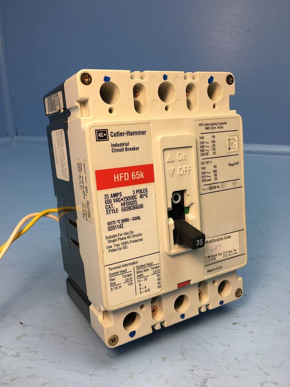 cutler-hammer hfd3035 35a circuit breaker red w/ shunt hfd hfd3035l  westinghouse: amazon com: industrial & scientific
