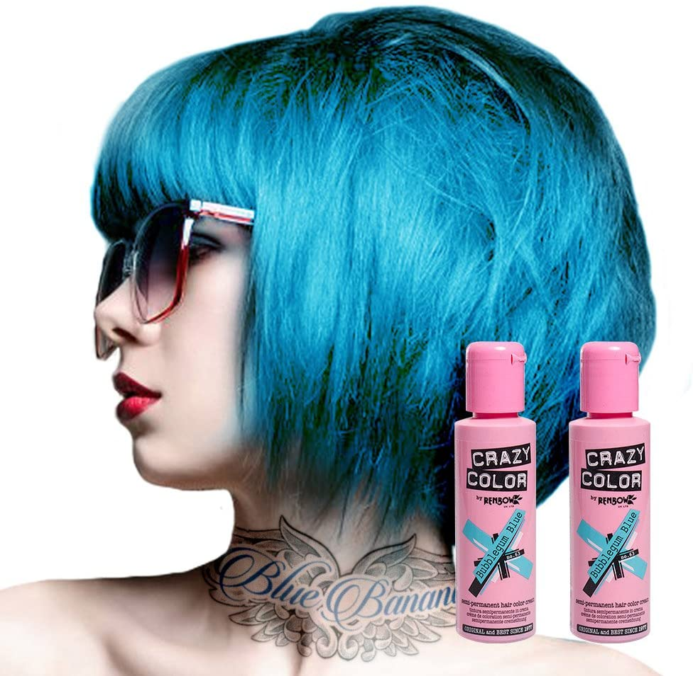 Tinte capilar semi-permanente de Crazy Color 100ml (Bubblegum Blue - azul chicle)