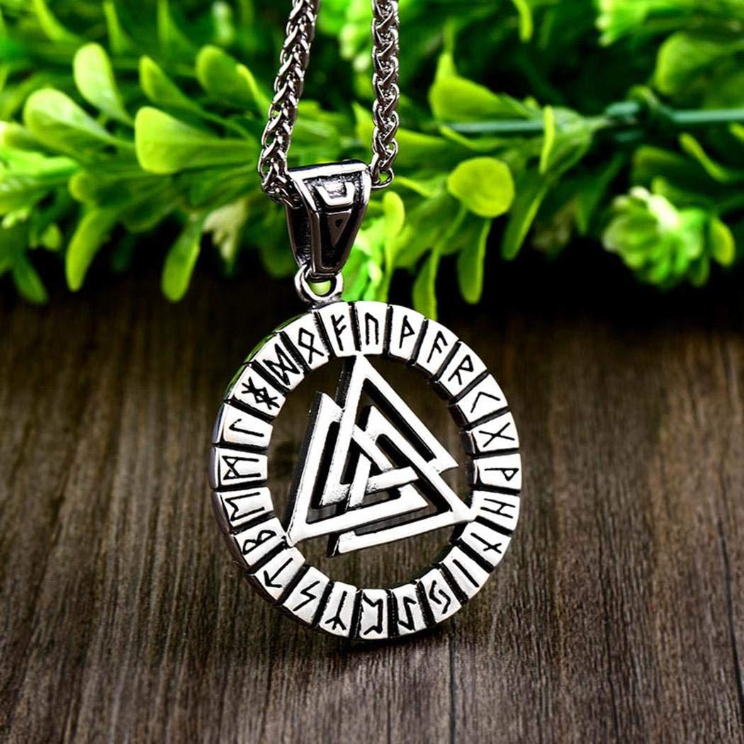 JEWURA Viking Odin Valknut Necklace Runes Amulet Pendant Stainless Steel Chain