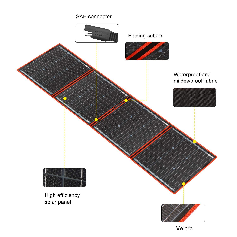 Dokio - Equipo de panel solar de 150 W, monocristalino, portátil, plegable, incluye controlador de carga solar y cable PV para batería de 12 V