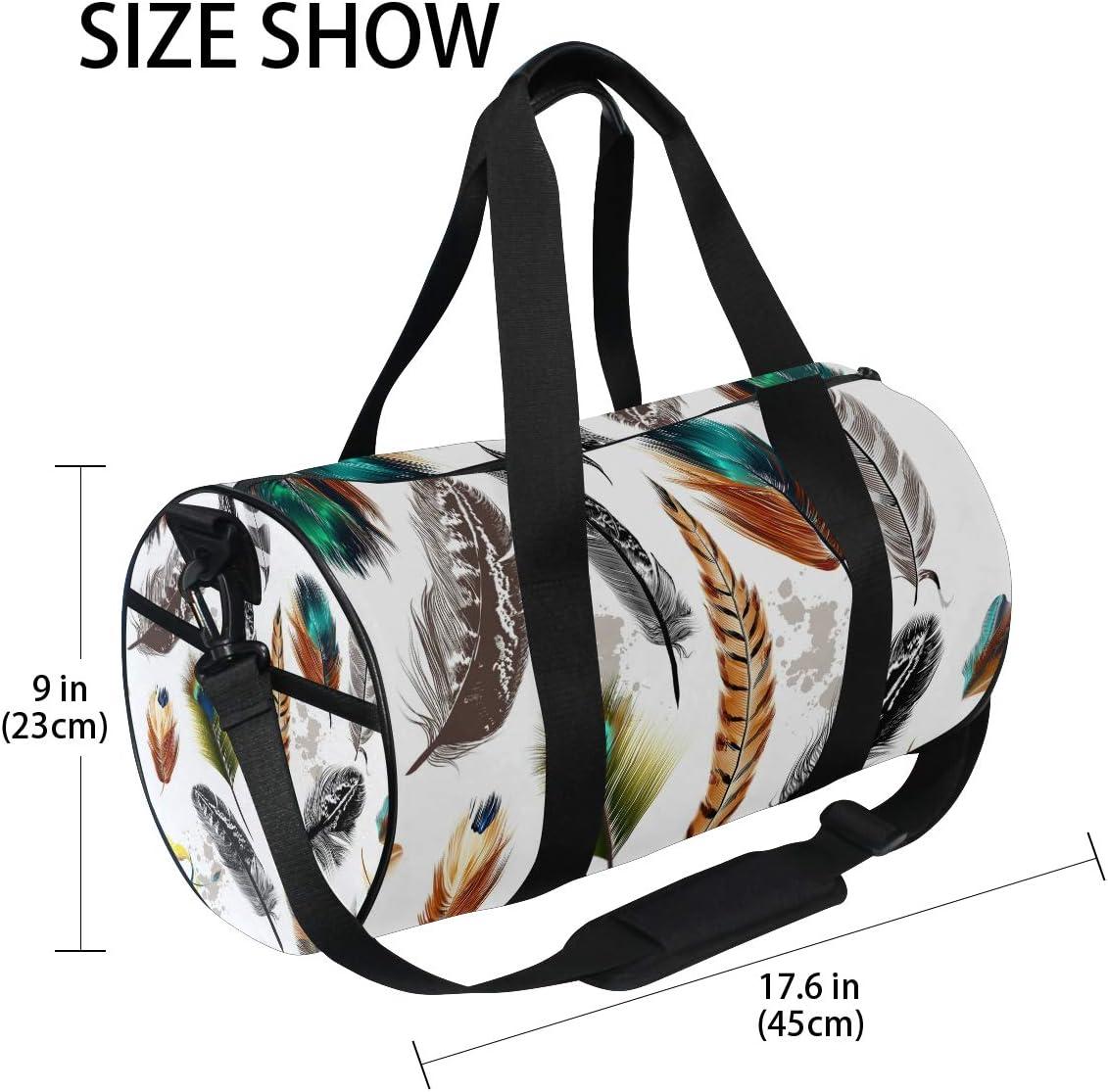 MALPLENA Beautiful Feathers Drum gym duffel bag women Travel Bag