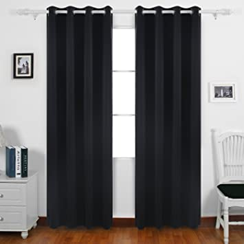 Deconovo Solid Grommet Top Curtains Blackout Thermal Insulated Light Blocking For Dining Room Black