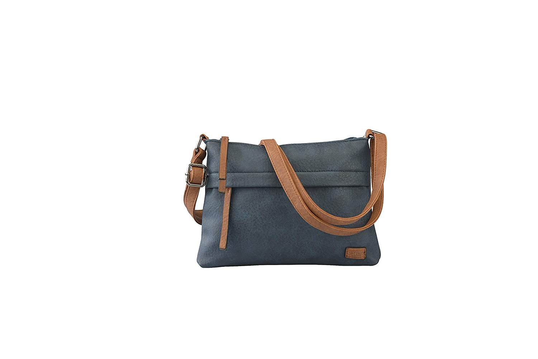 12a2cf1df544e STEFANO moderne Damen Crossover Tasche Umhängetasche Schultertasche Frauen  Shopper PU verschiedene Modelle (M1 blau cognac)  Amazon.de  Koffer