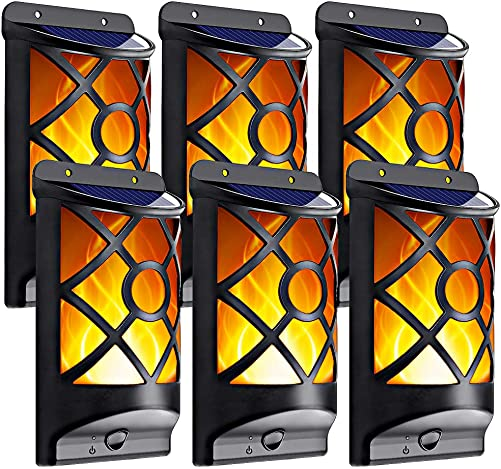 LazyBuddy Solar Wall Lights Outdoor, Upgraded Solar Wall Mounted Night Lights with Flickering Dancing Flame, Solar Powered Wall Lantern for Home Garden Door Lanai Fence Landscape Decoration 6 Pack