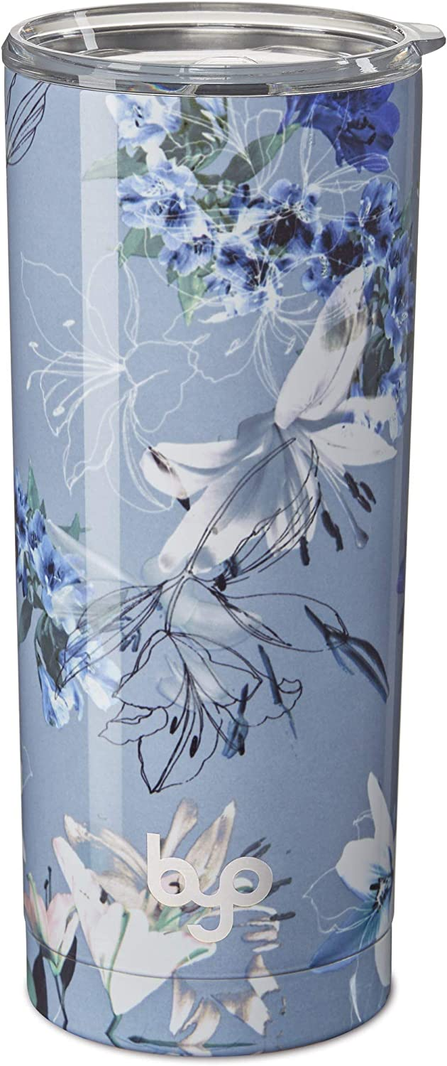 BUILT Vacuum Insulated Tumbler Double Wall, 20-Ounce, Pewter Lily
