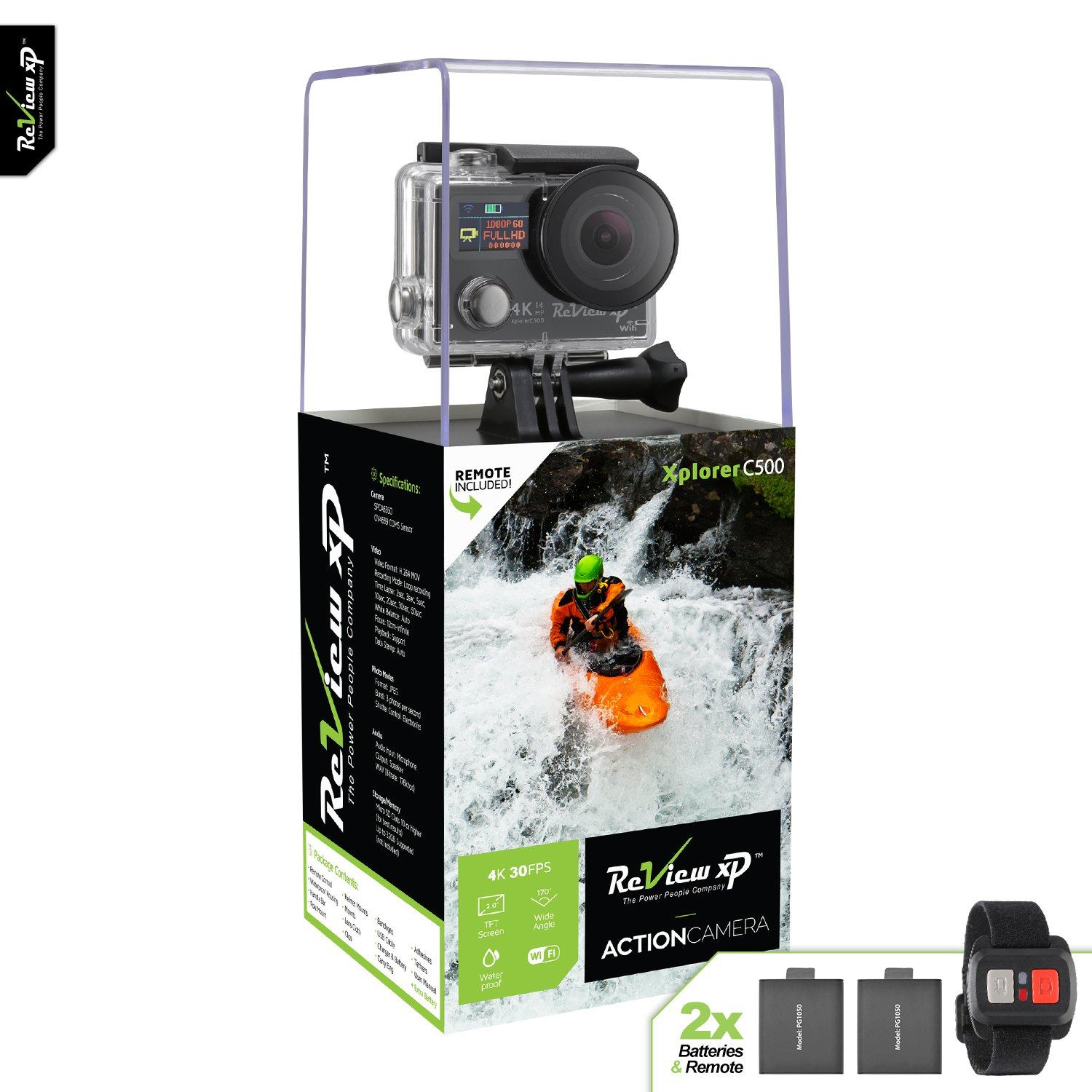 Review XP 4K HD Wi-Fi Waterproof Action Camera 14MP 30fps Sports Video Underwater Camcorder 170° Wide Angle Dual Lens Screen 2 Batteries Accessories Kit Remote Control - Black