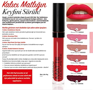 Amazoncom Farmasi Matte Liquid Lipstick 4 Ml 05 Red Love Beauty