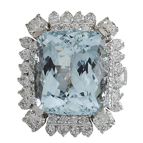 16.54 carati naturale blu acquamarina e diamanti in oro bianco 14 kt lusso  anello da cocktail per le donne  Amazon.it  Gioielli 6a68609c259