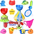 11 PCs Bath Toys for Toddlers 1-3, Kiddie Pool with Sea Animals Water Toys, Stackable Cups and Fishing Net Bathtub Toys