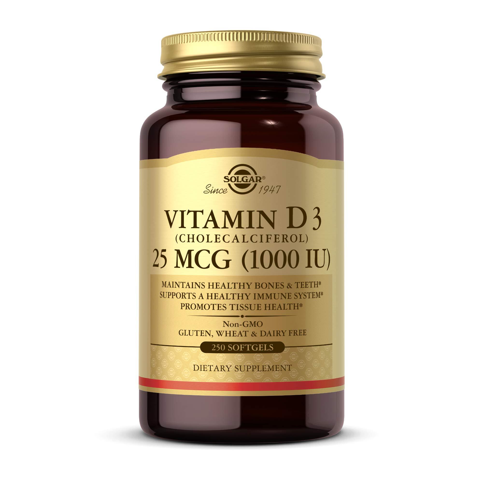 Solgar Vitamin D3 (Cholecalciferol) 25 MCG (1000 IU), 250 Softgels - Helps Maintain Healthy Bones & Teeth - Immune System Support - Non-GMO, Gluten Free, Dairy Free - 250 Servings