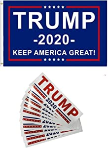 Trump 2020 Flag (35 Foot) with Durable Brass Grommets+10 PCS Trump Stickers,Trump Banners and Signs 2020,for Outdoor Indoor Yard House Porch and Garden.