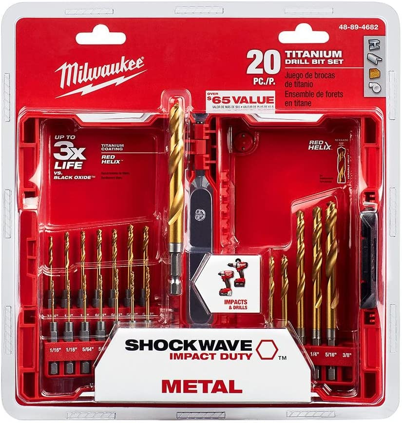 23-Piece With Red Helix Milwaukee SHOCKWAVE IMPACT DUTY Titanium Drill Bit Set