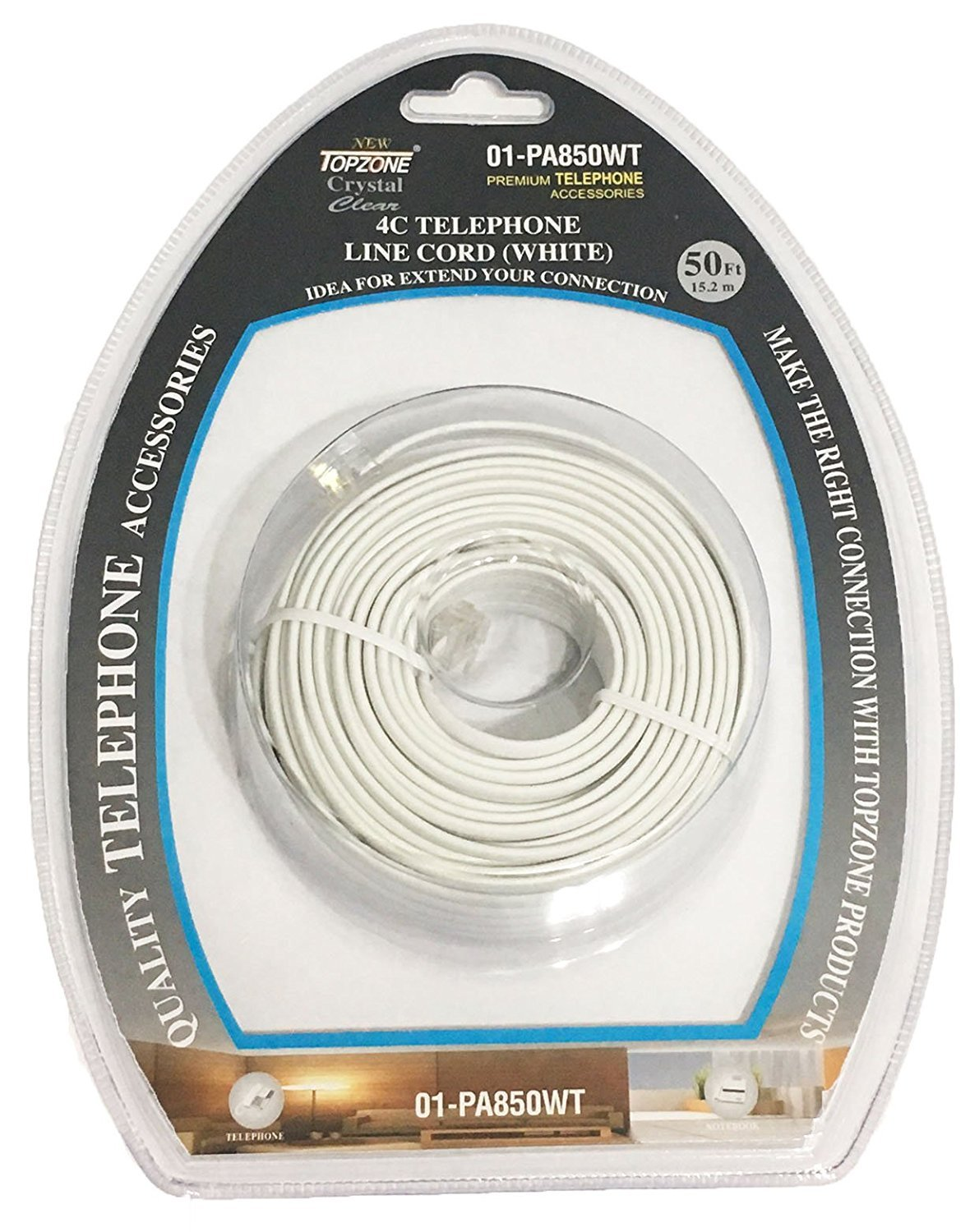 Bistras 25 Ft 4c Telephone Extension Cord Cable Line Wire For Any Wiring Phone Modem Fax Machine