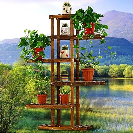 AIDELAI Estante de madera maciza con marco de flores, soporte de madera, estante de flores, estante para sala de estar, estante para interiores, patios, jardines, pergolas: Amazon.es: Jardín