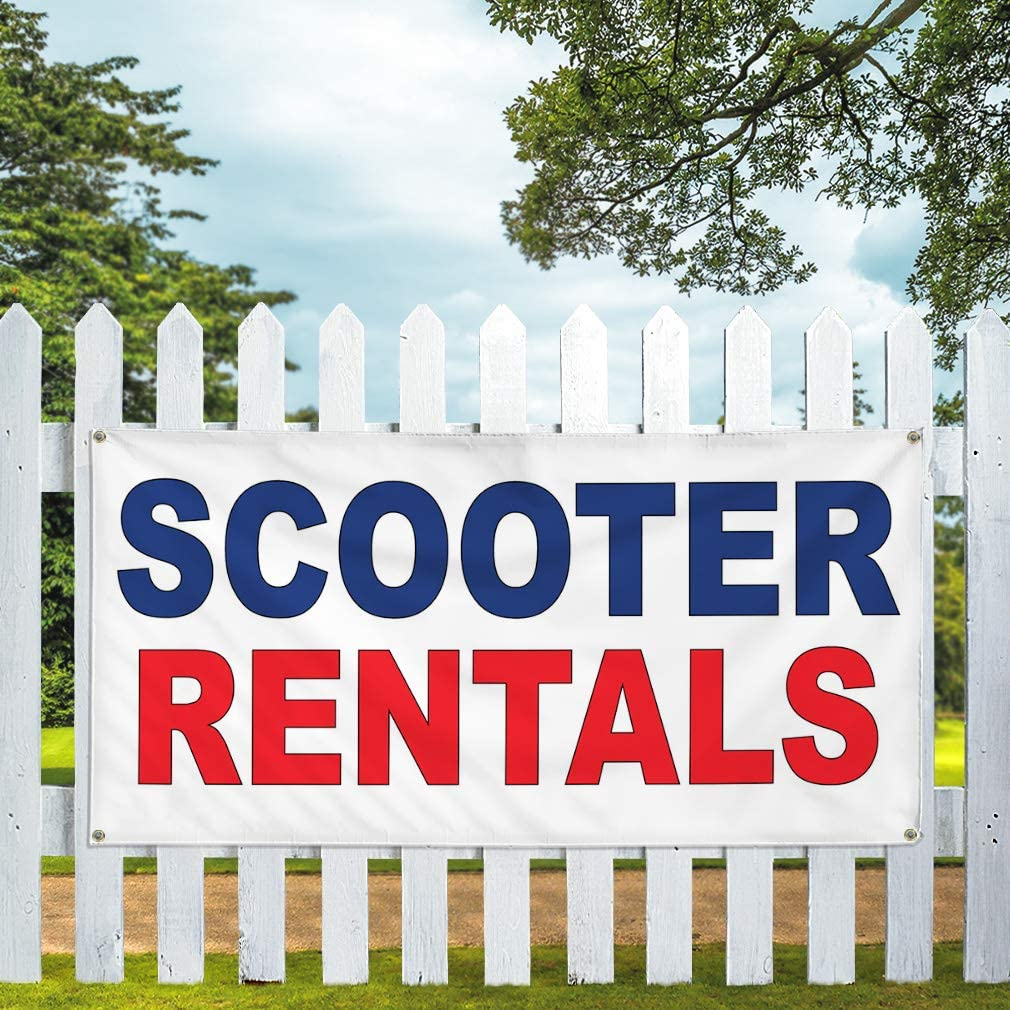 Vinyl Banner Multiple Sizes Scooter Rentals Blue Red Auto Car Repair Shop Business Outdoor Weatherproof Industrial Yard Signs 10 Grommets 60x144Inches