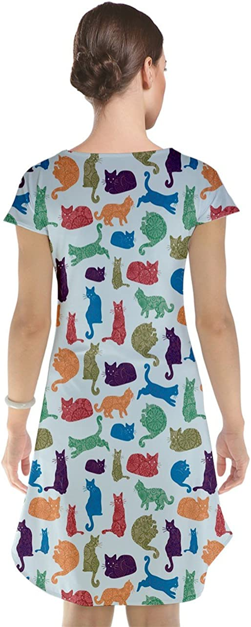 Blue Colorful Cats Silhouettes Pattern Cap Sleeve Nightdress