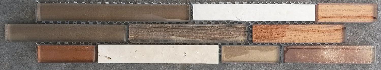 Marmor Glasmosaik Bordüre Braun Beige Mosaik Fliesen Naturstein Bad Dusche B445