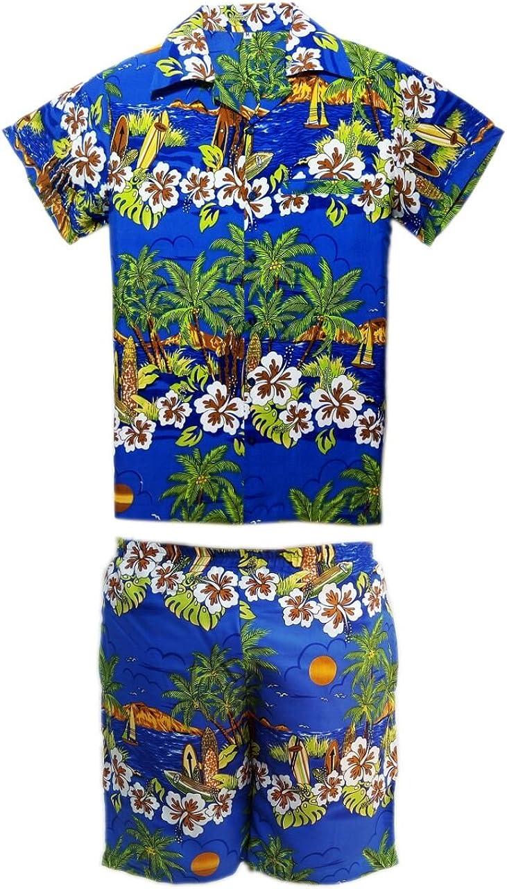 Camisa y Pantalones Cortos Hawaianos para Hombre, diseño de Playa, para Fiestas, Verano y Vacaciones - S - Azul: Amazon.es: Ropa y accesorios