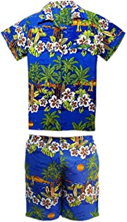 b2383fe63 SAITARK Mens Hawaiian Shirt STAG Beach Hawaii Aloha Party Summer Holiday  Fancy Palm Shirt and Short