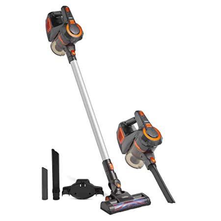 VonHaus Cordless 2 in 1 Stick Handheld Vacuum Cleaner Lightweight Includes Crevice Tool, Carpet Roller Brush Accessories Gray Orange 22.2V Lithium-ion Battery