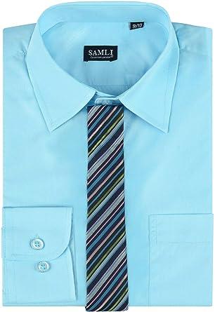 Samli Camisa Formal para Hombre con Corbata y Gemelos, S-5XL: Amazon.es: Ropa y accesorios