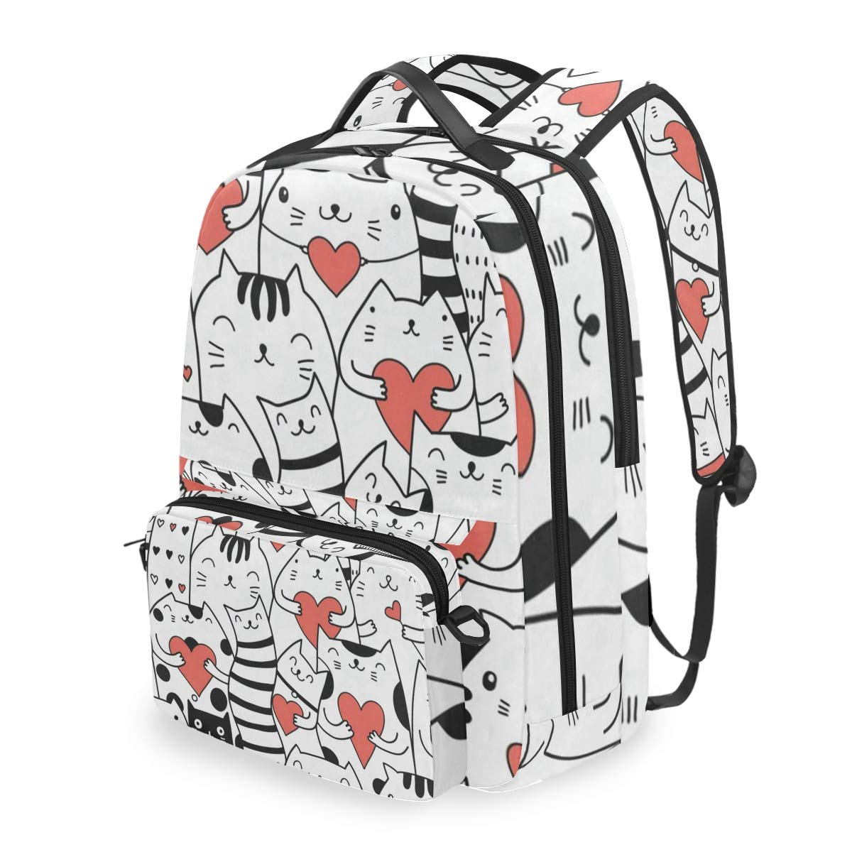 Laptop Backpack Cats With Hearts Kitty Kitten Cosmetic Bag Pouch Detachable Back pack