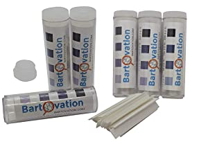 Six Pack Restaurant Sanitizer Chlorine Test Paper, 10-200 ppm [6 Vials of 100 Paper Strips]