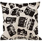 HGOD DESIGNS Camera Pillow Cover,Decorative Throw Pillow Old Camera Pillow cases Cotton Linen Outdoor Indoor Square Cushion Covers For Home Sofa couch 18x18 inch Black