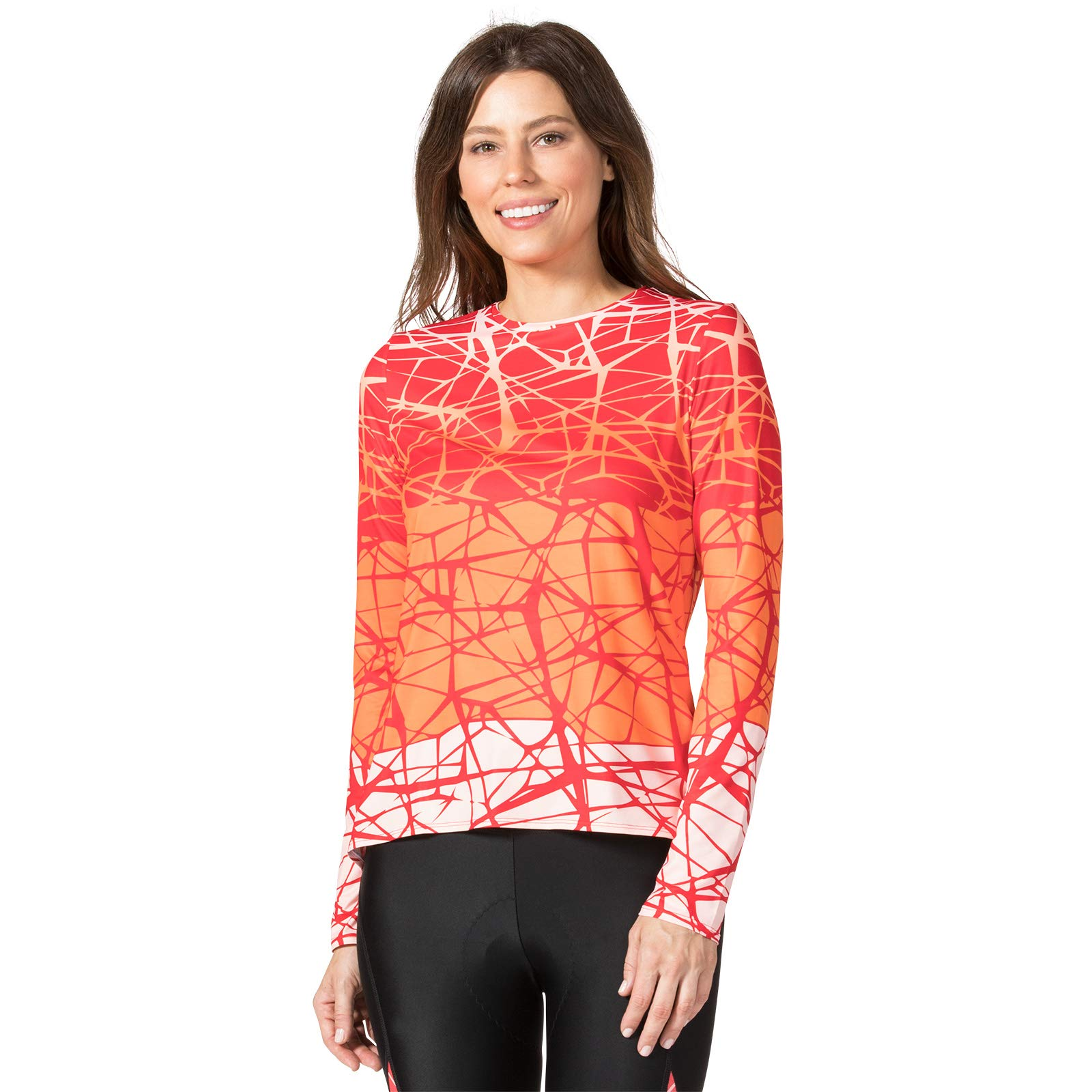 Terry Soleil Flow Long Sleeve Cycling Top for Women - Lightweight Ladies Athletic Top with UPF 50+ Sun Protection- Tangled/Coral - XX Large by Terry