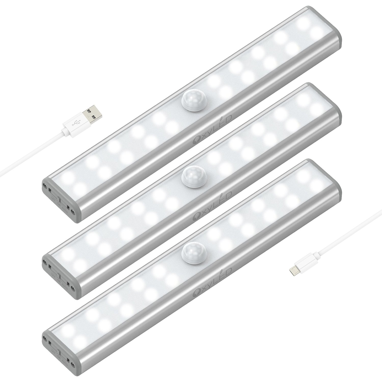 Wardrobe Light, OxyLED Motion Sensor Closet Lights, 20 LED Under Cabinet Lights, USB Rechargeable Stick-on Stairs Step Light Bar, LED Night Light, Safe Light with Magnetic Strip, 3-Pack, T-02U