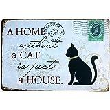 Demarkt Vintage Blechschild Metallschild Türschild Metallblechschild mit Spruch und Katze Wanddeko 20 x 30 cm