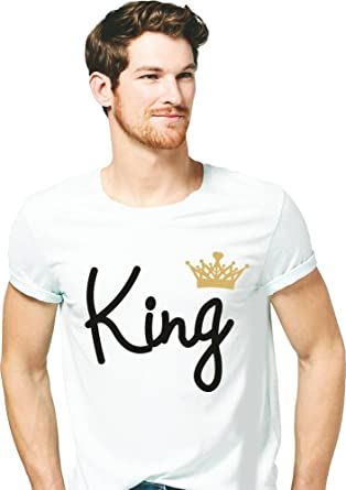 097e56638a381e Hangout Hub Men's Cotton King with Crown in Gold Printed T-Shirt Friendship  Day White