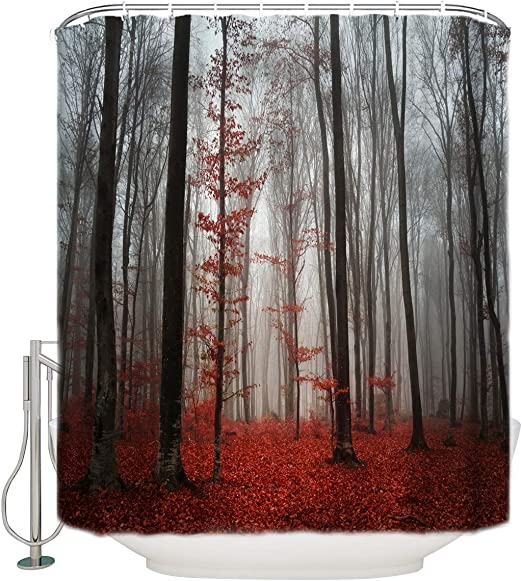 Bathroom Shower Curtain Mystic Forest Bathroom Curtain with 12 Hooks Trees Red Leaves Shower Curtains Durable Waterproof Fabric Bath Curtain