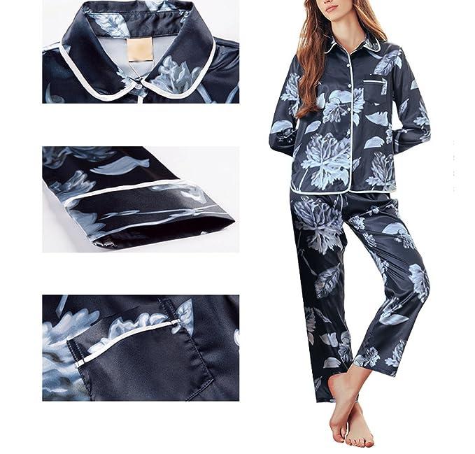 Pijama De Manga Larga Estampado De Seda De Las Mujeres Set Pijama De Estilo Relajado para