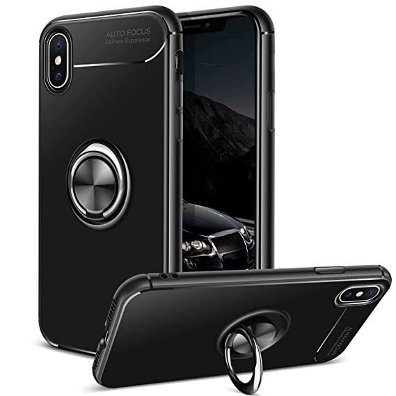 brand new 27d8f 8c981 DAUPIN for iPhone Xs Case iPhone X Case Ring Stand Holder Kickstand  Protective Cases Cool Ultra Thin Slim Durable Preminum Soft TPU Men Women  Cases ...