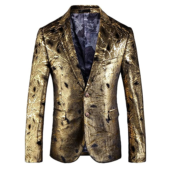 05ccf700853 Image Unavailable. Image not available for. Color  Mens Blazer Dress Gold Floral  Suit Notched Lapel Slim Fit 2 Button Stylish ...